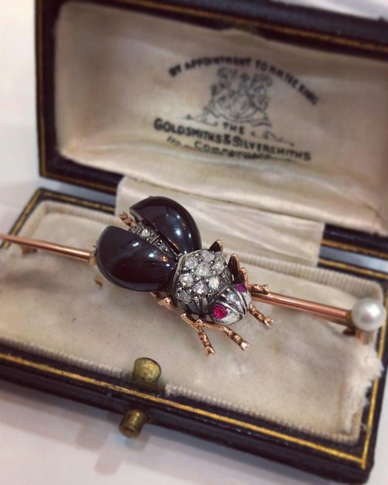 Women's or Men's Garnet, Diamond and Ruby Bug Brooch, circa 1870 For Sale