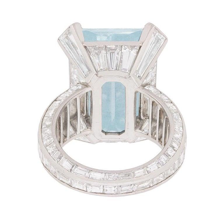 Women's or Men's Mauboussin Aquamarine and Diamond Dress Ring, circa 1970s For Sale