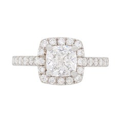 Spectacular GIA Certified 1.50 Carat Cushion Cut Diamond Halo Engagement Ring