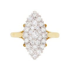 Vintage Marquise-Shaped Diamond Cluster Ring, circa 1976