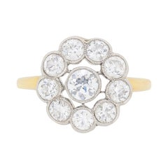 Edwardian Diamond Daisy Cluster Ring, circa 1910