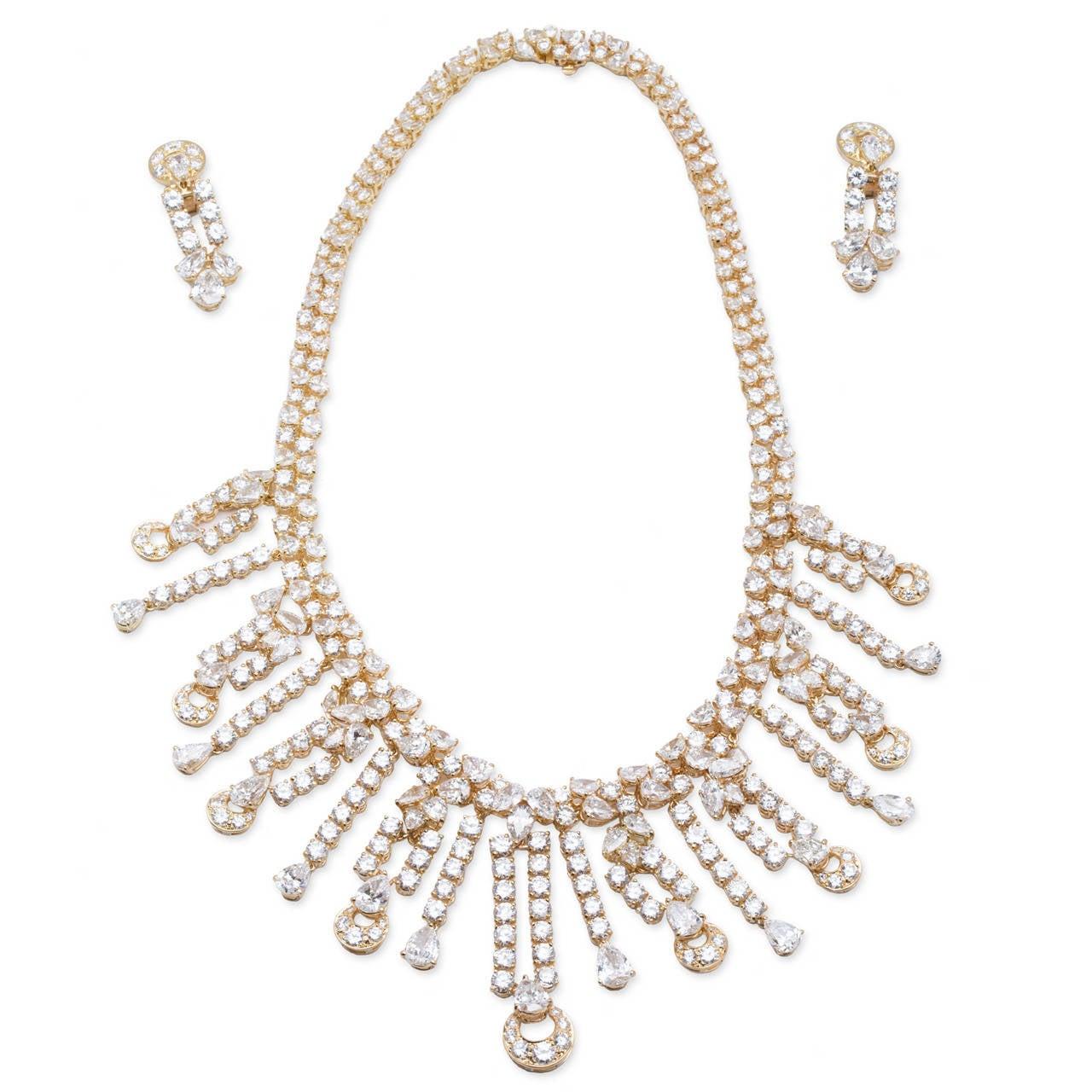 Bulgari Diamond Necklace Earring Set