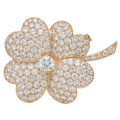Van Cleef & Arpels Cosmos Diamond Pave Gold Flower Pin