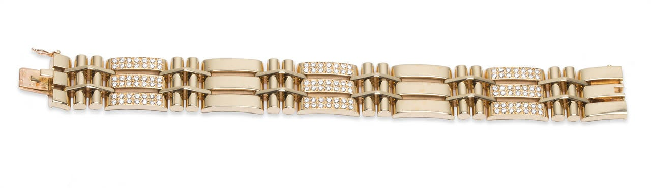"Van Cleef & Arpels VCA Diamond Bracelet in 18K Yellow Gold, 126 round diamonds, Total Diamond Weight Approx. 5.00ct., Bracelet Dimensions: Length 7 1/4"" x Width 3/4"", Stamped ""French Assay Hallmark, 750, Van Cleef & Arpels, & Serial Number"""