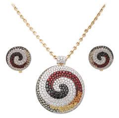 Valente Diamond and Multi-Color Sapphire Pendant Earring