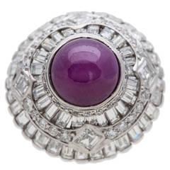 Antique Star Ruby Diamond Platinum Ring
