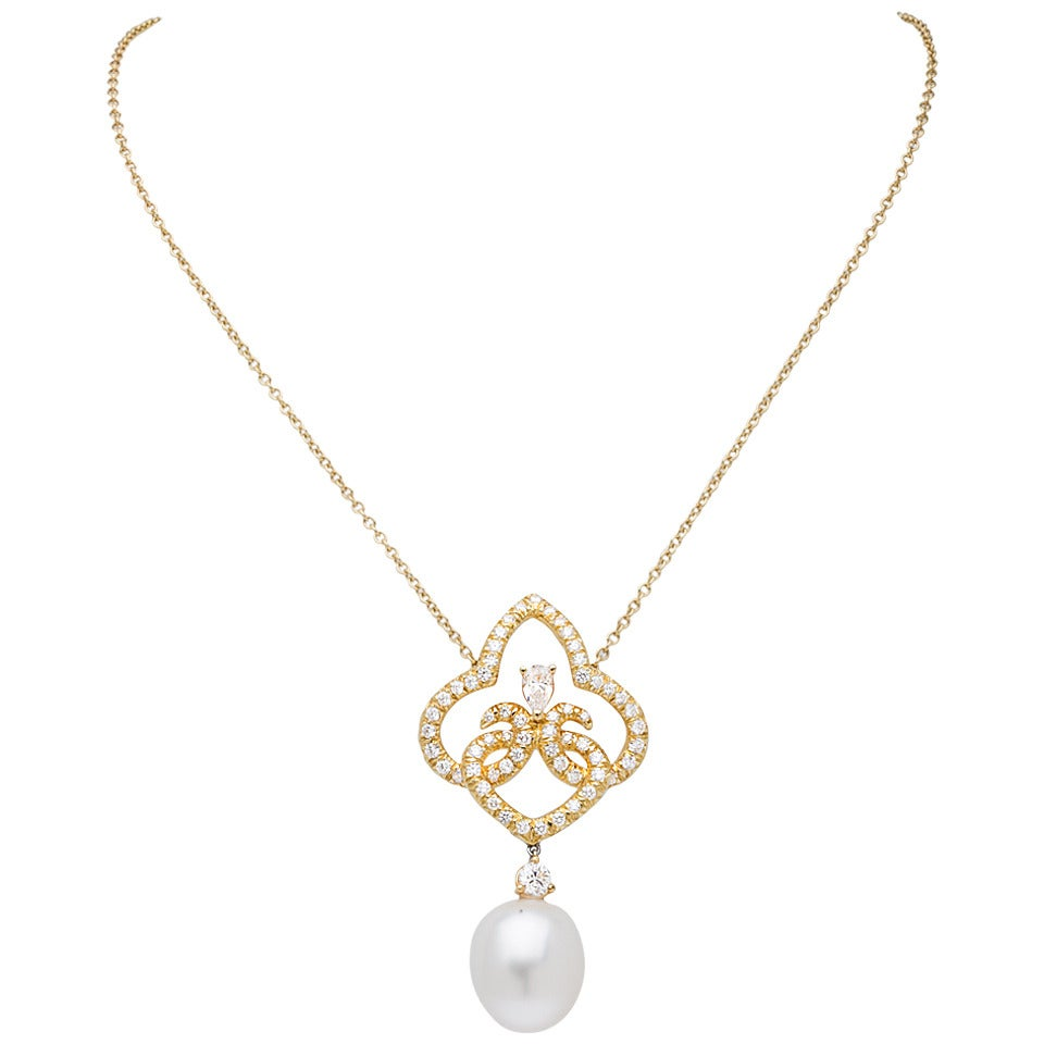 Henry Dunay Pearl Diamond Gold Drop Necklace