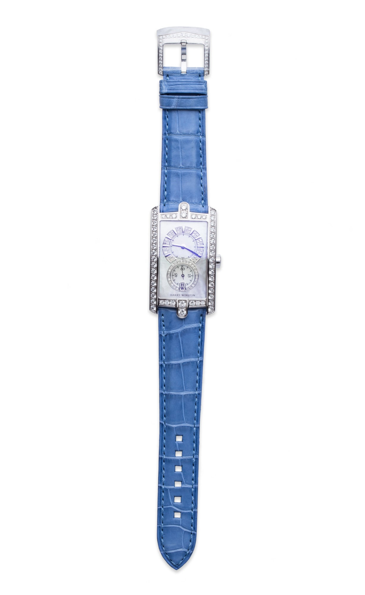Harry Winston Ladies White Gold Diamond Avenue C Wristwatch For Sale 4