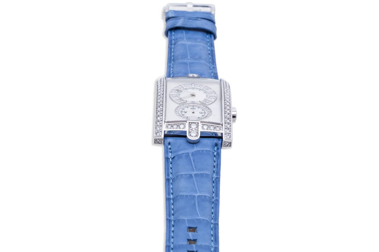 Harry Winston Ladies White Gold Diamond Avenue C Wristwatch In As new Condition For Sale In Sunny Isles Beach, FL