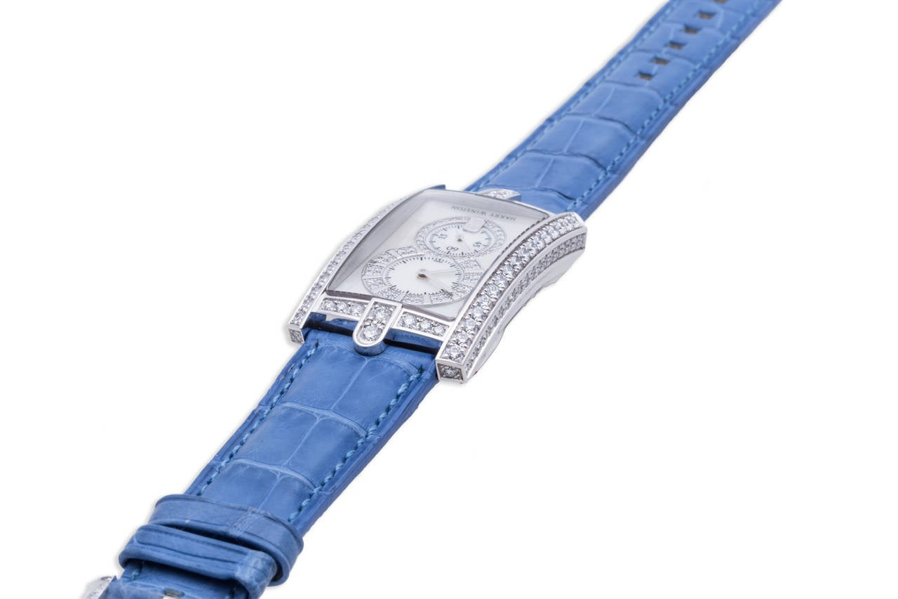 Women's Harry Winston Ladies White Gold Diamond Avenue C Wristwatch For Sale
