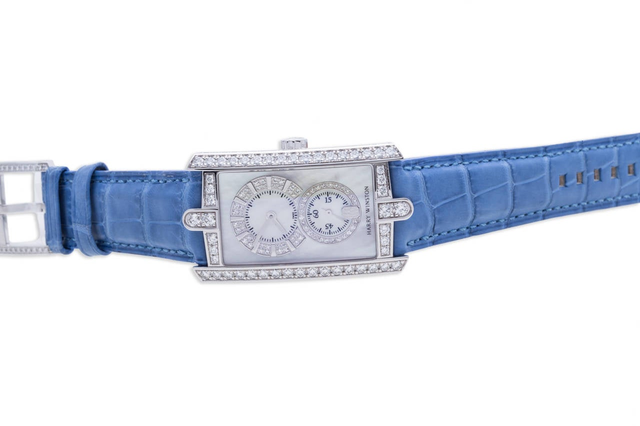 Harry Winston Ladies White Gold Diamond Avenue C Wristwatch For Sale 1