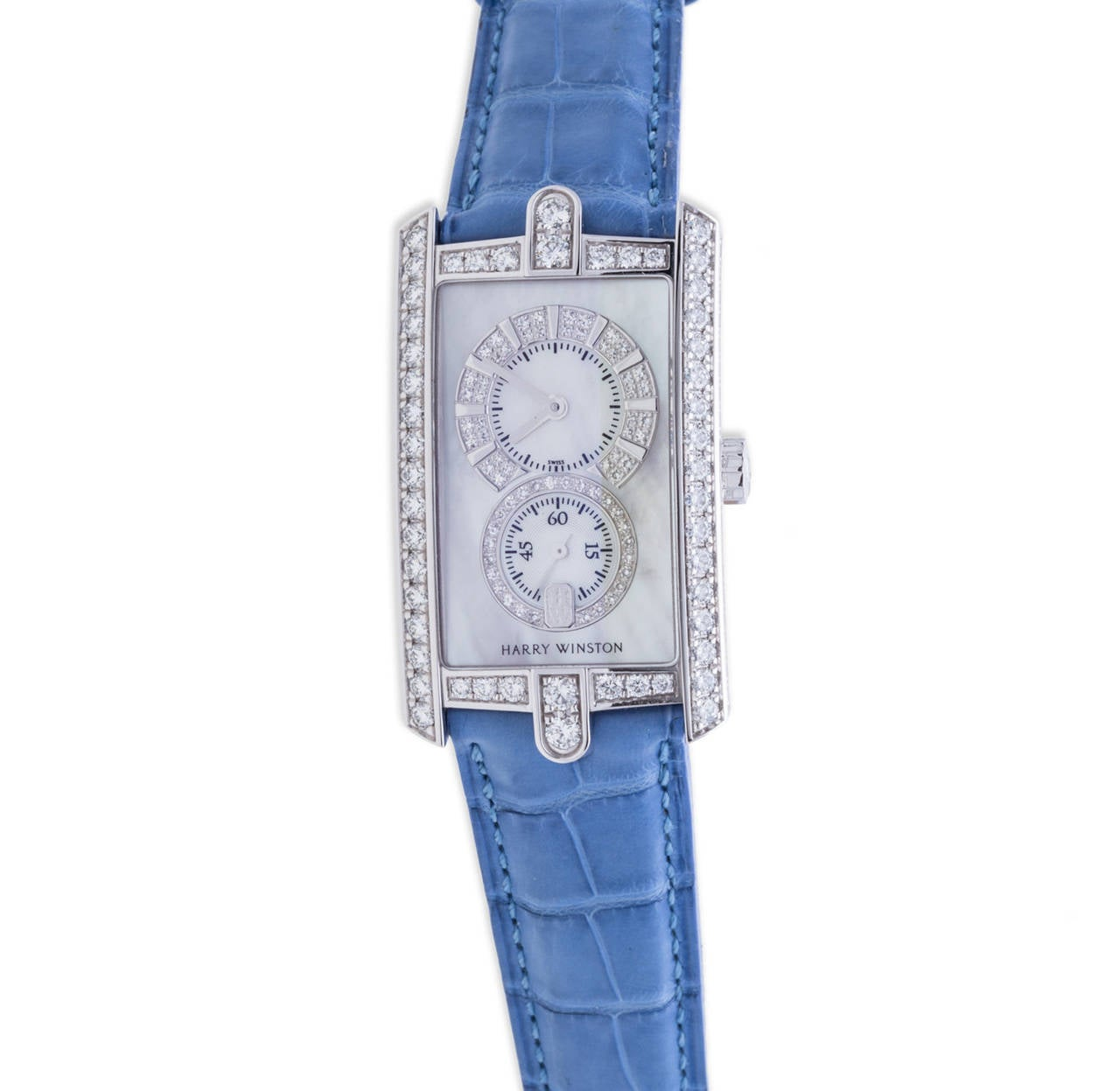 Harry Winston Avenue C Diamond Ladies Watch in 18K White Gold, 18K White Gold Diamond Case 26mm x 46.1mm, White Mother of Pearl Dial with Diamond , Quartz Moevement, Brand New with Box & Papers.