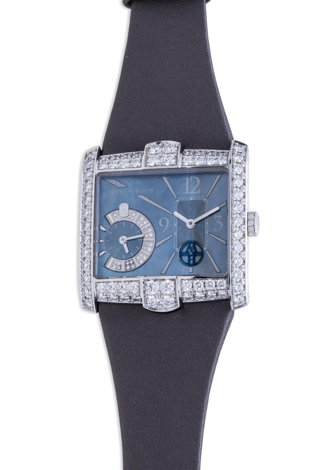 Harry Winston Ladies White Gold Diamond Avenue B Wristwatch For Sale 1