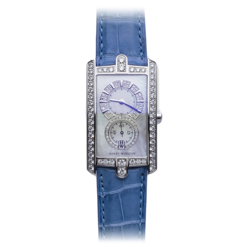 Harry Winston Ladies White Gold Diamond Avenue C Wristwatch For Sale