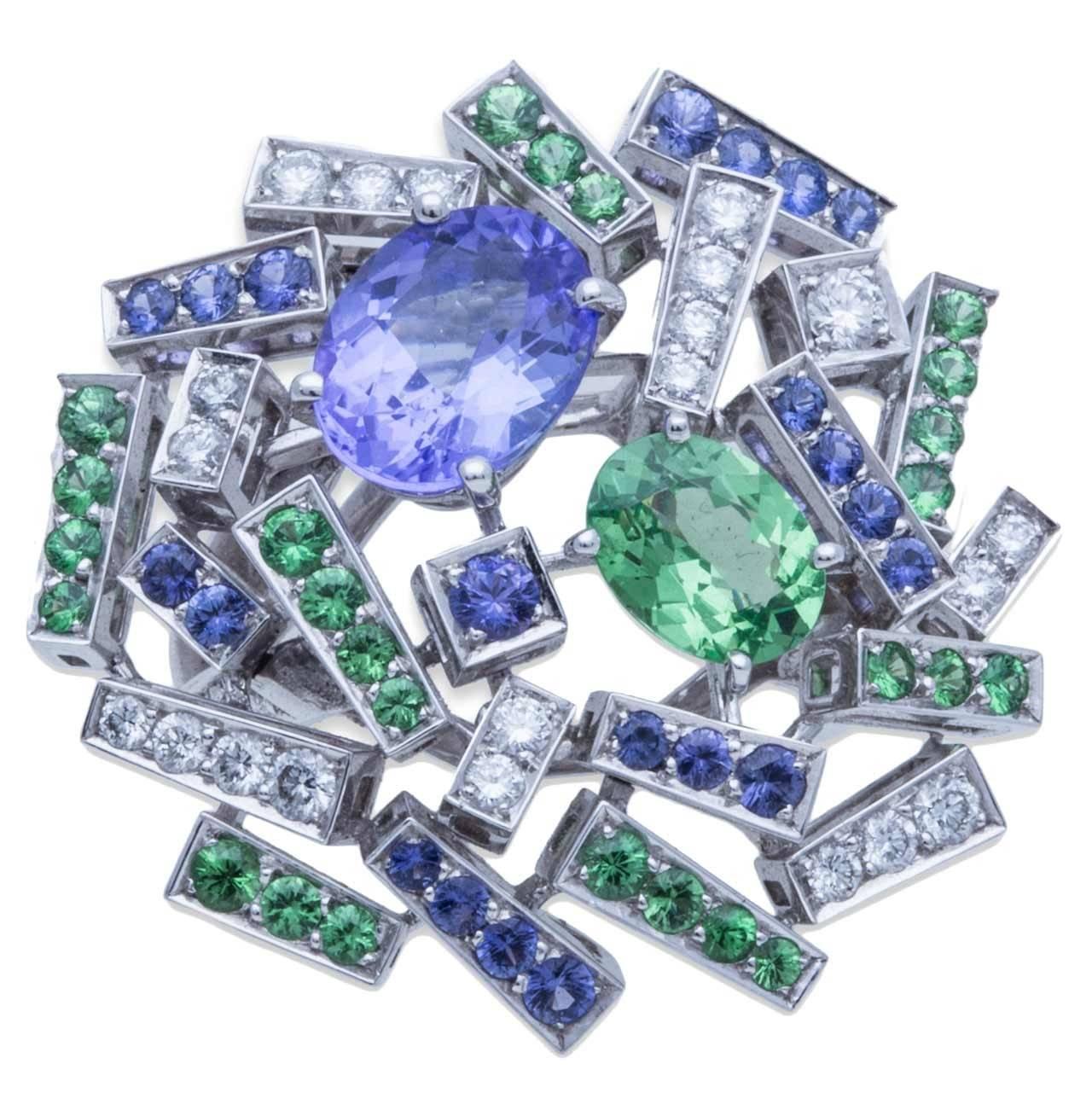 Chaumet Le Grand Frisson Violet Sapphire Tsavorite Garnet Diamond Gold Ring