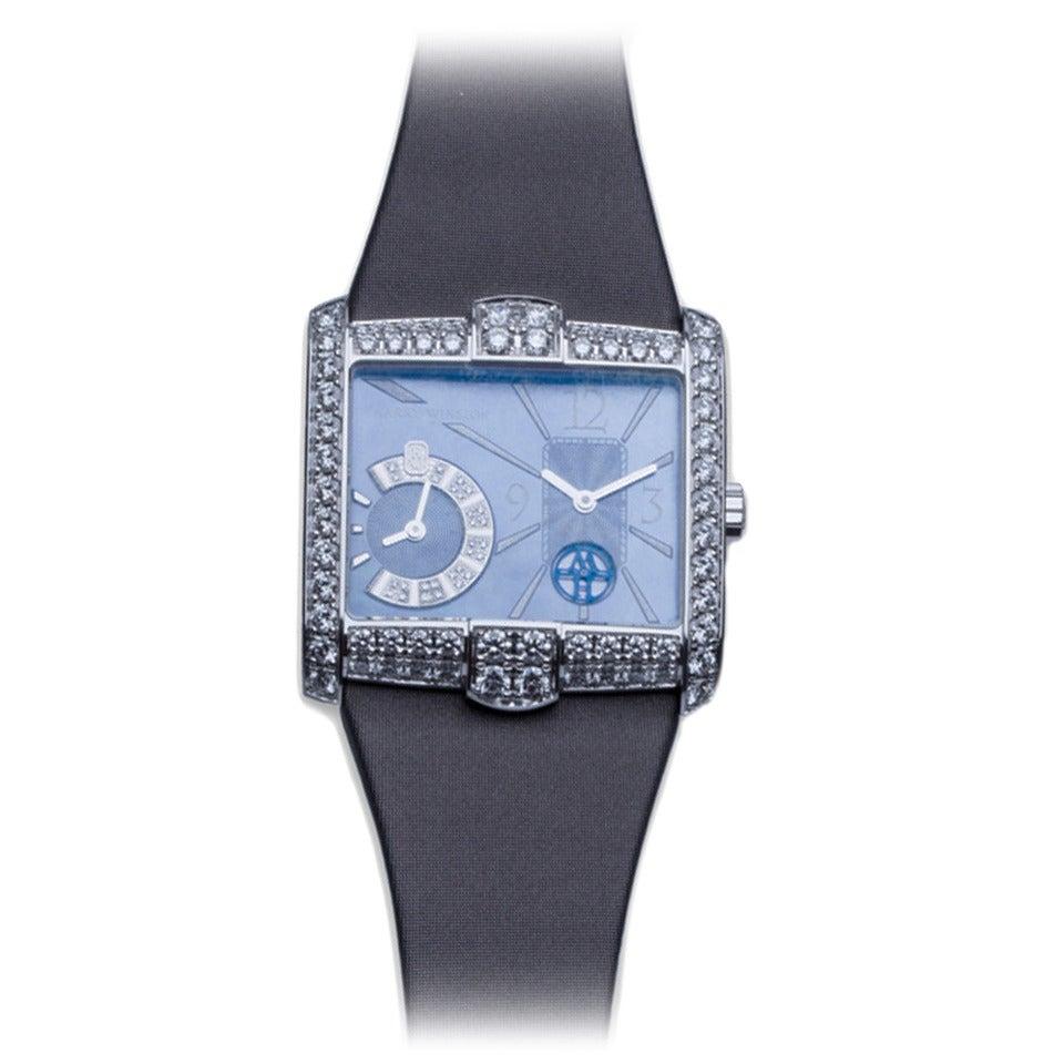 Harry Winston Ladies White Gold Diamond Avenue B Wristwatch For Sale