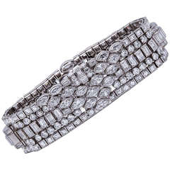 Superb Lacloche Frères Art Deco Diamond Platinum Bracelet, Paris, 1928