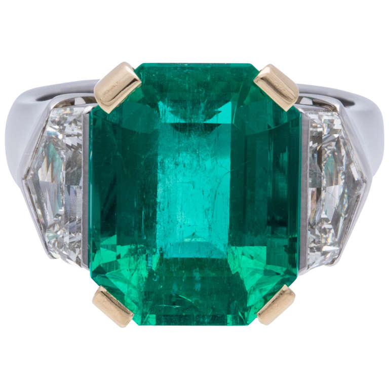 Emerald Diamond Ring Gold Platinum