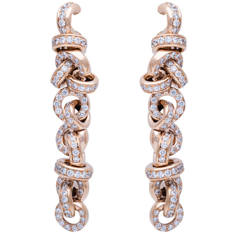 de Grisogono Diamond Rose Gold Earrings 1
