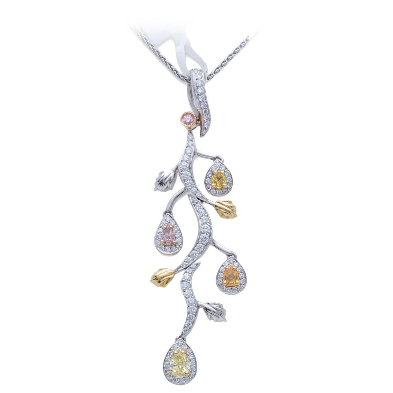 Beaudry Color Diamond  Platinum Gold Pendant