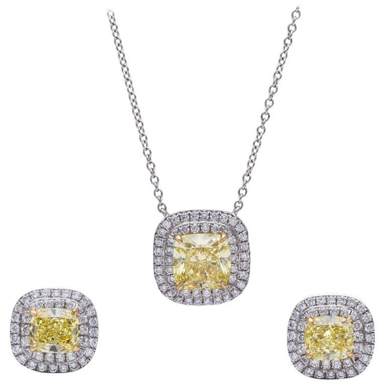 Tiffany and co fancy yellow diamond necklace and earring set at tiffany co fancy yellow diamond necklace and earring set for sale mozeypictures Image collections