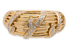 Cartier Diamond Gold Dome Ring
