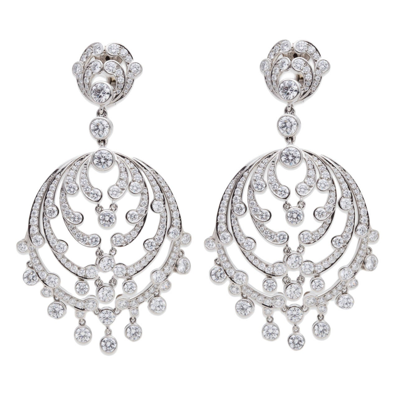 cartier diamond platinum chandelier earrings for sale at 1stdibs