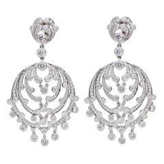 Cartier Diamond Platinum Chandelier Earrings