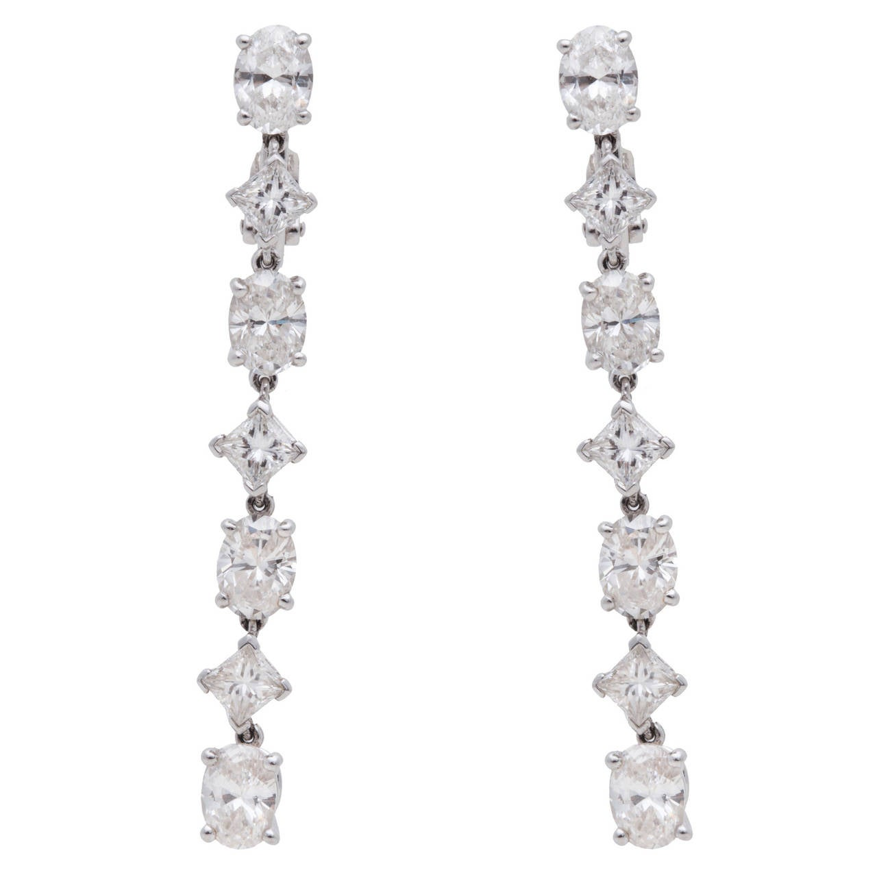Cartier Classic Diamond Gold Platinum Drop Earrings For Sale
