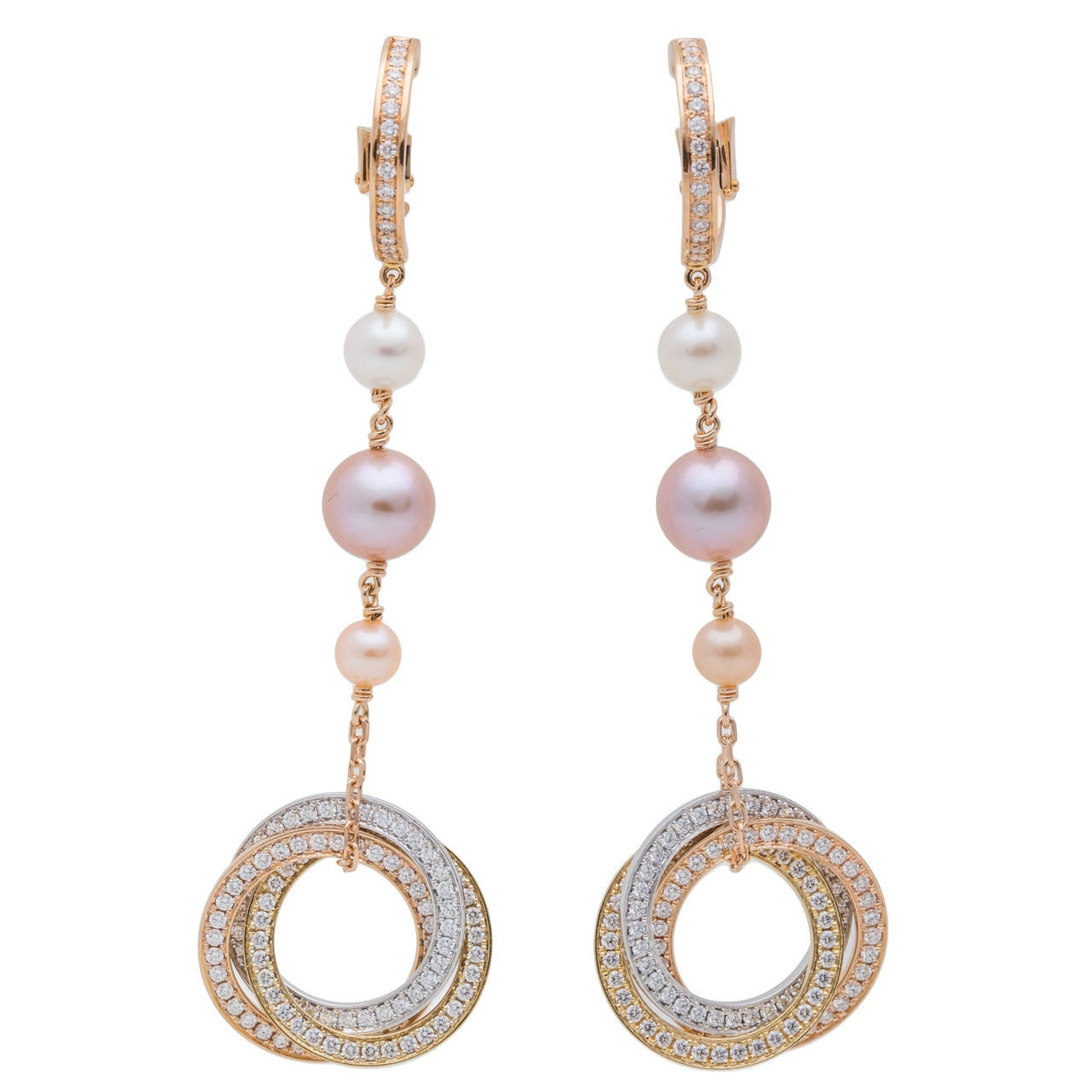 trinity de cartier pearl diamond gold drop earrings for