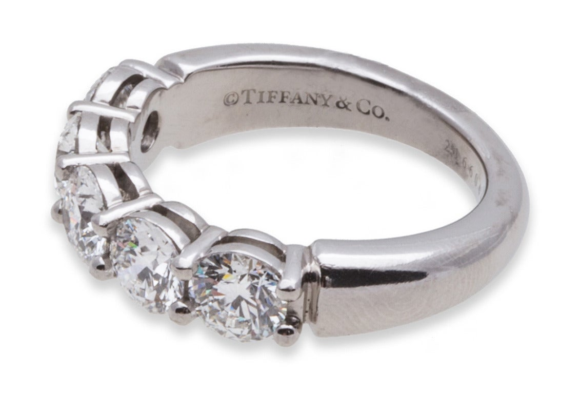 Tiffany And Co Diamond Platinum Five Stone Ring For Sale