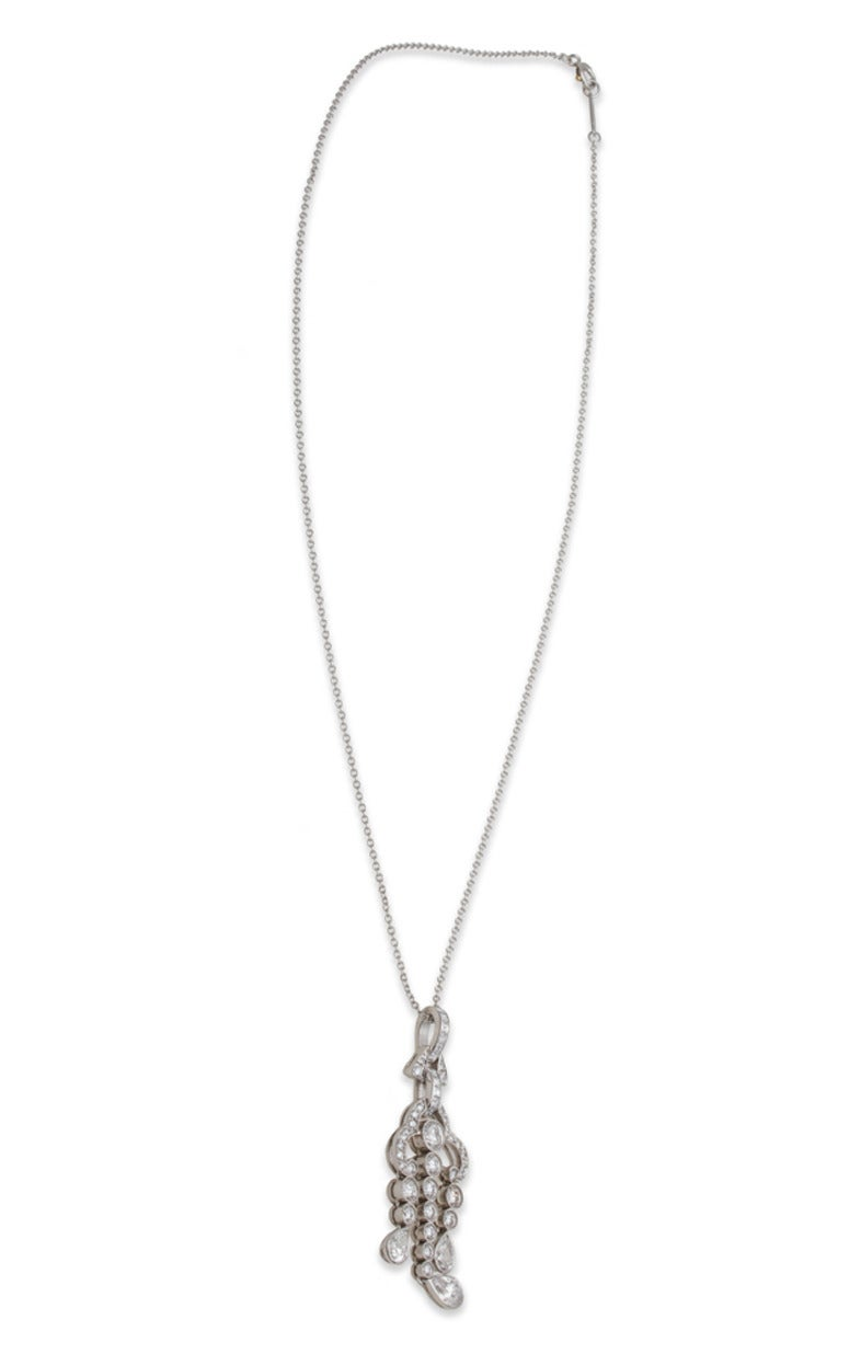 Tiffany & Co. Diamond Platinum Pendant Necklace 3