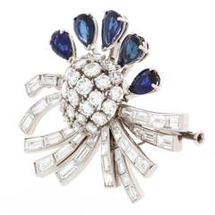 Diamond and Sapphire Platinum Brooch