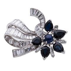 Sapphire Diamond Gold Ribbon Brooch Pendant