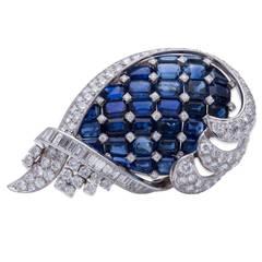 Sapphire Diamond Platinum Brooch