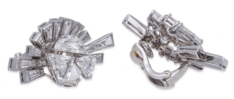 Fred Leighton Art Deco Diamond White Gold Earrings 2