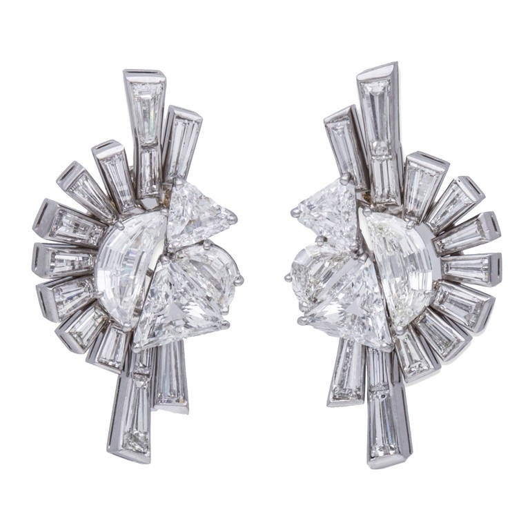 Fred Leighton Art Deco Diamond White Gold Earrings 1