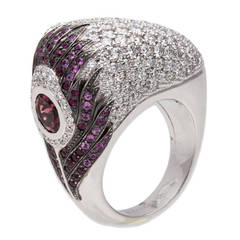 Carrera y Carrera Tourmaline Diamond White Gold Peacock Ring