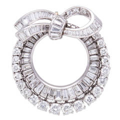 Diamond Platinum Wreath Brooch
