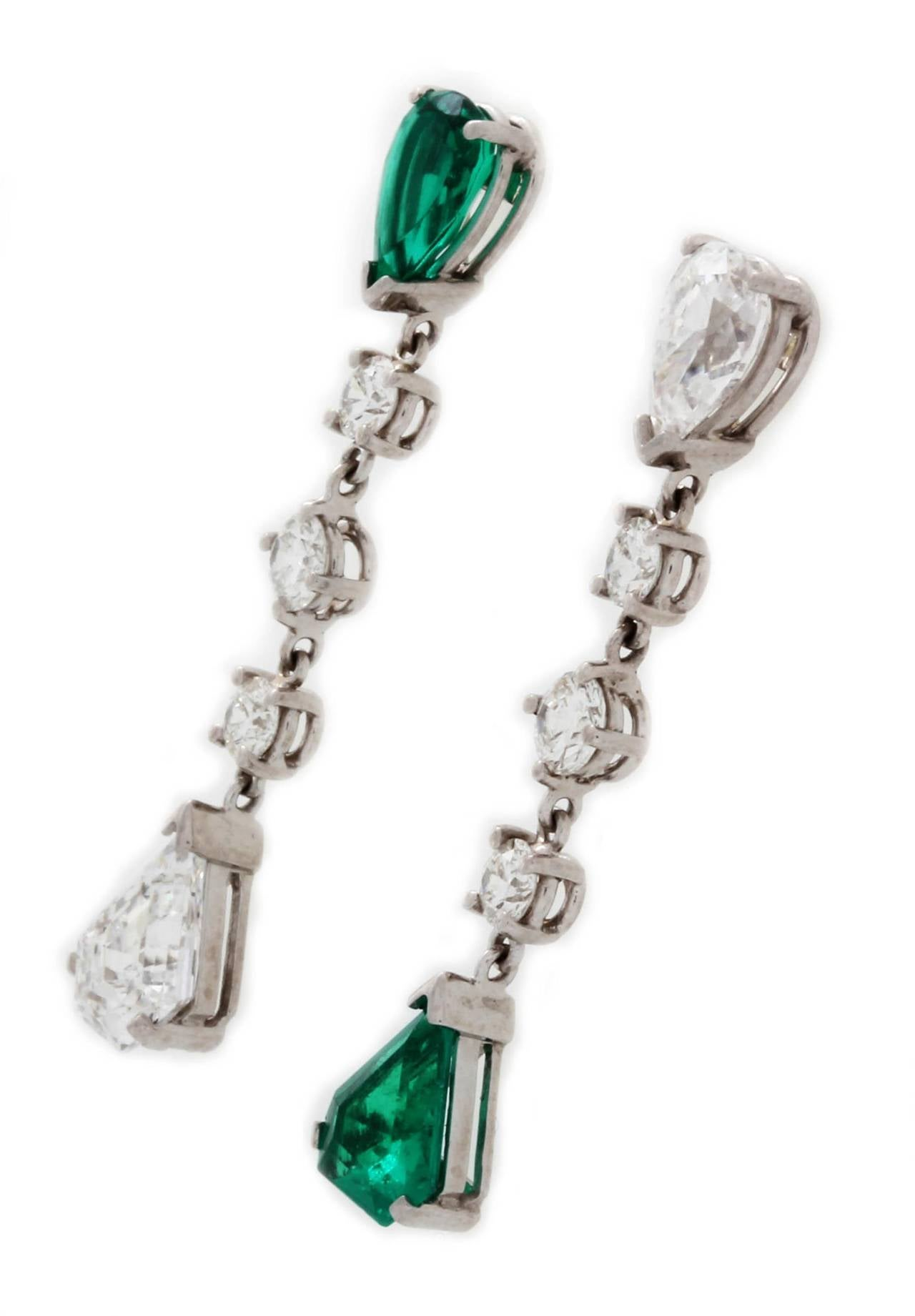 Stunningly Chic Emerald Diamond Platinum Earrings 2