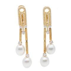 Henry Dunay Pearl Diamond Gold Earrings