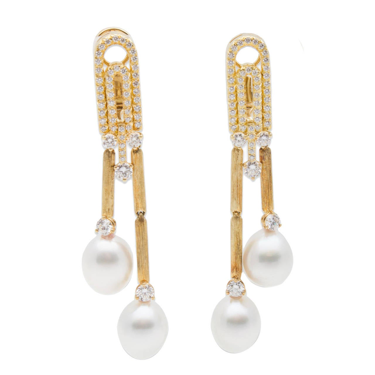Henry Dunay Pearl Diamond Gold Earrings For Sale