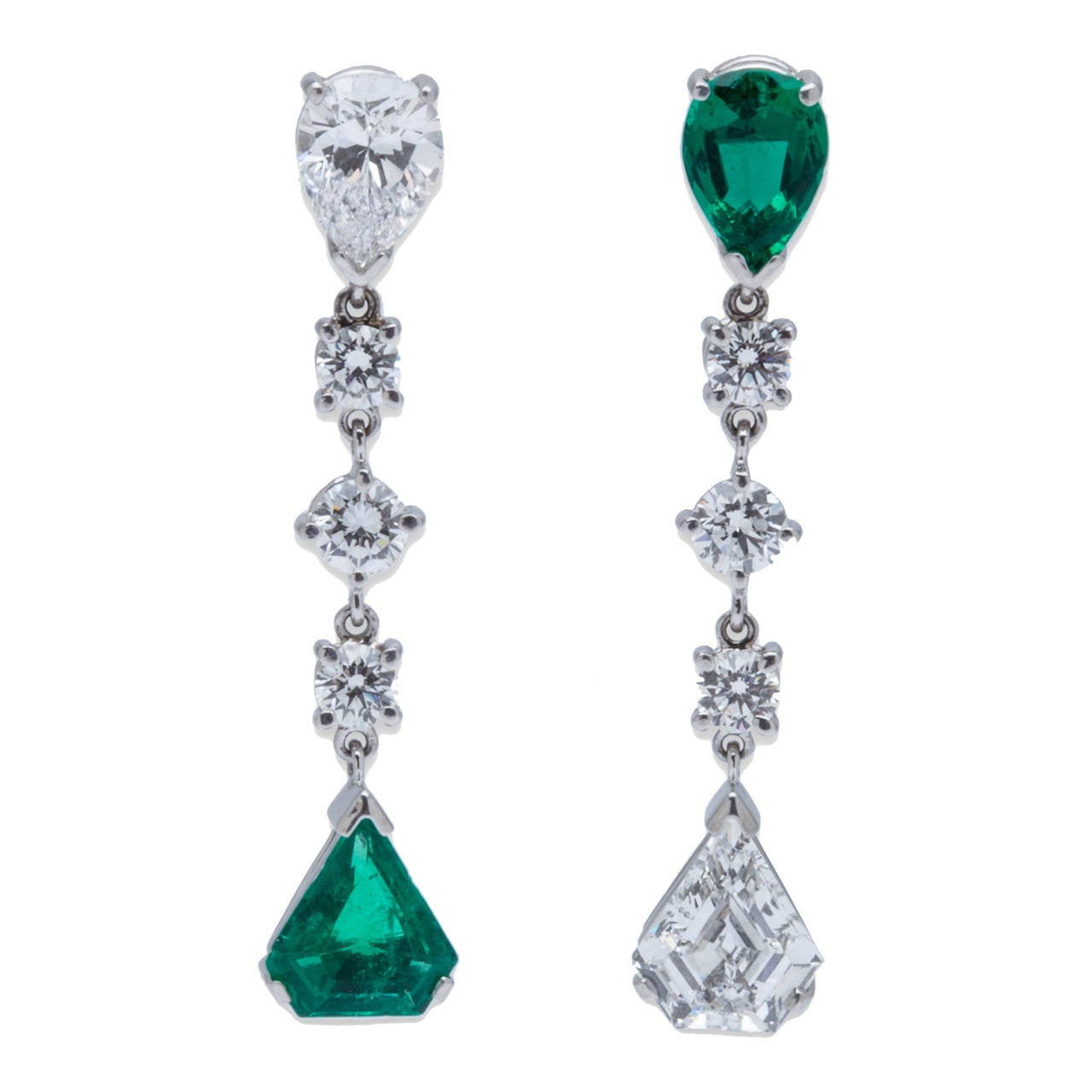 Stunningly Chic Emerald Diamond Platinum Earrings 1