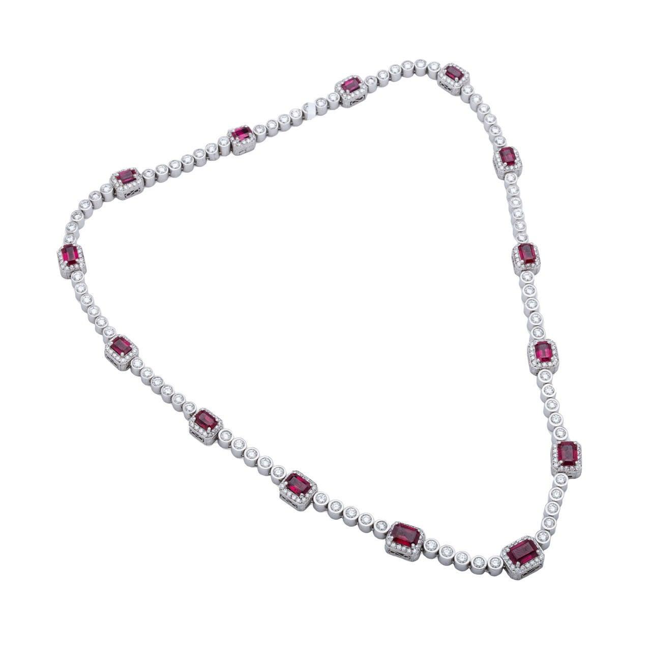 Beaudry Ruby Diamond Platinum Necklace
