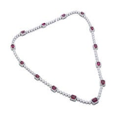 Beaudry Ruby Diamond Platinum Necklace