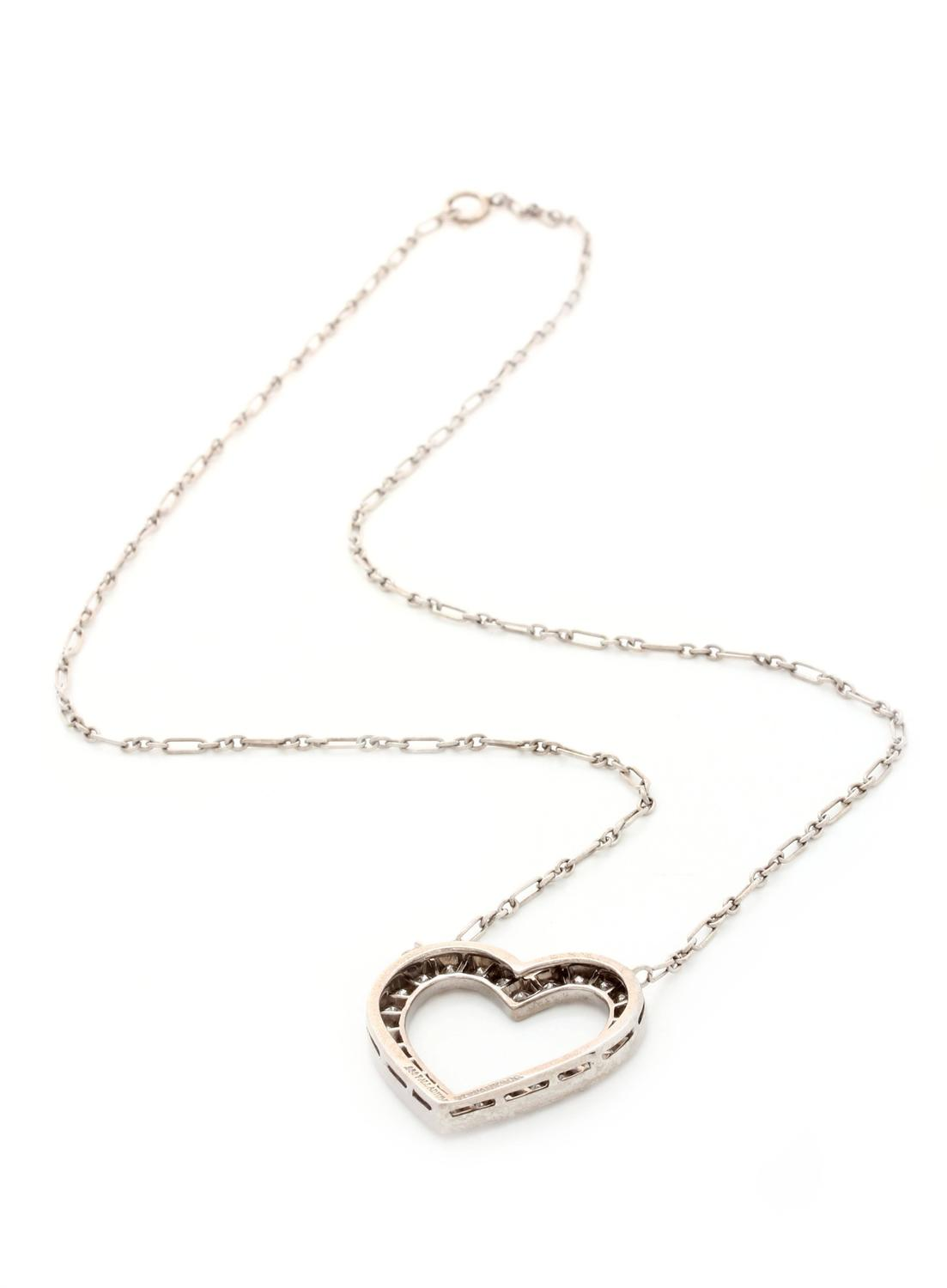 Tiffany and Co. Diamond Palladium Heart Necklace For Sale ...