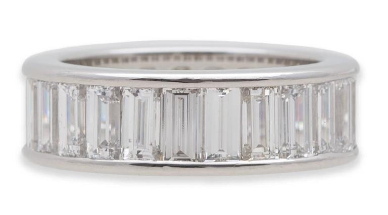 Cartier Diamond Baguette Platinum Eternity Wedding Ring at 1stdibs