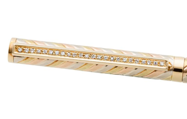Solid Tricolor Gold Pen with Diamonds 4