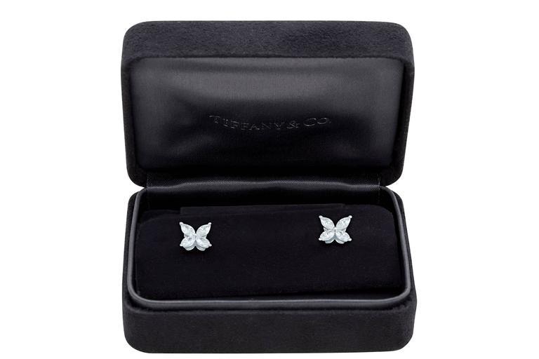 Tiffany & Co. Victoria Diamond Platinum Floral Stud Earrings 4