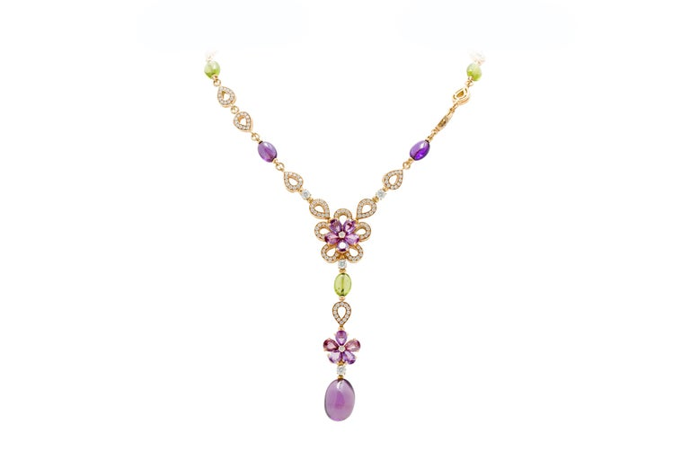 "Bulgari Color Collection 18K Yellow Gold Necklace, Earring, and Ring Set with Diamonds, Color Sapphires, Amethyst (Purple), and Peridot (Green). Maximum Necklace Length: 17.00"", Necklace Drop: 3.38"", Earring Length: 1.50"", Ring Size:"